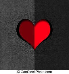 hart gedaante, knippen, fluweel, grijs