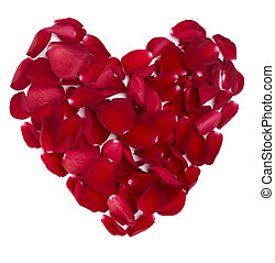 hart gedaante, rozenblaadjes, bloem, liefde, valentijn, dag