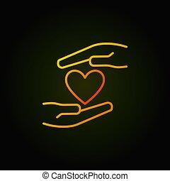 hart, gekleurde, vector, handen, pictogram, schets