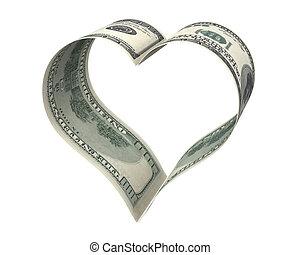 hart, gemaakt, dollar, twee, papieren