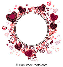hart, gemaakt, frame, gedaantes, omtrek, rood