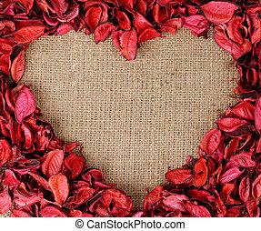 hart, gemaakt, gevormd, frame, kroonbladen, rood