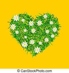 hart, gemaakt, groen gras