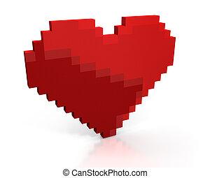 hart, gemaakt, pixels, rood, kubiek