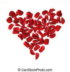 hart, gemaakt, rozenblaadjes