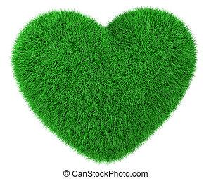 hart, gemaakt, van, groen gras, vrijstaand