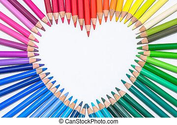 hart, gemaakt, van, kleurrijke, crayons