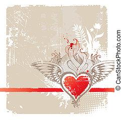 hart, gevleugeld, ouderwetse , -, illustratie, vector