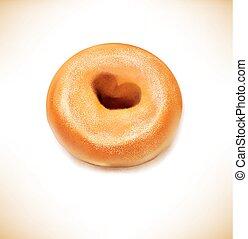 hart gevormd, donut, vector, gat, gebraden