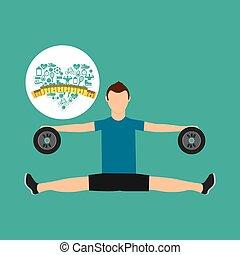hart, gewicht aderlating, sportende, persoon, excercise