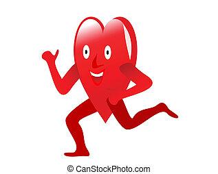 hart, gezonde , gewichten, oefening, het tilen, afbeelden, spotprent, rood