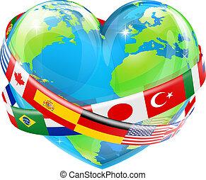 hart, globe, met, vlaggen