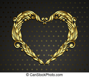 hart, goud, rnamental