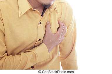 hart, graaiende, aanval, hand, borst