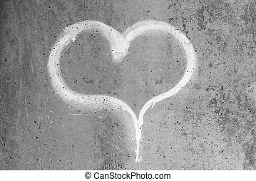 hart, grijs, muur, krijt, beton, getrokken