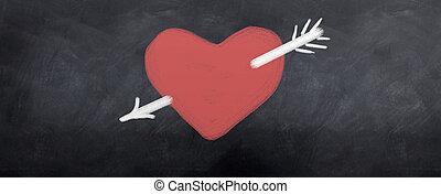 hart, grit, door, richtingwijzer, wit rood