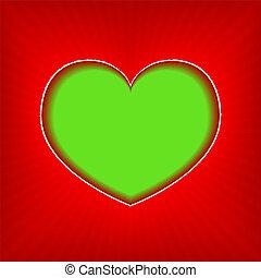 hart, groene achtergrond
