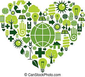 hart, groene, milieu, iconen