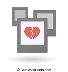 hart, groep, vrijstaand, foto's, kapot