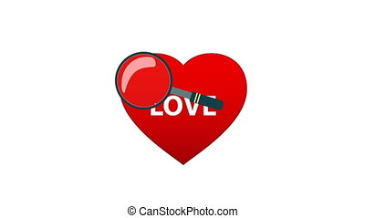hart, grondig, glas, achtergrond, witte , vergroten