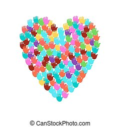 hart, groot, illustratie, vorm, handen, gevulde