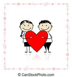 hart, groot, paar, valentijn, day., ontwerp, jouw, rood