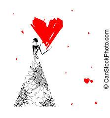 hart, groot, valentijn, day., meisje, rood