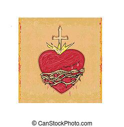 hart, grunge, heilig, achtergrond, jesus