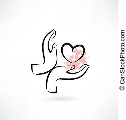 hart, hand, pictogram