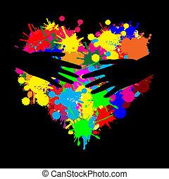 hart, hand, twee, verf , splatter