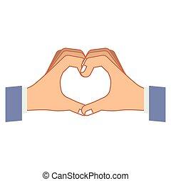 hart, handen, hand, kleurrijke, vormen