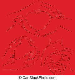 hart, handen