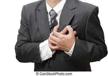 hart, hebben, man, senior, aanval