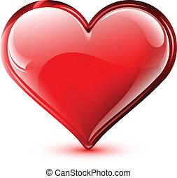 hart, helder, vector, glanzend, illustratie
