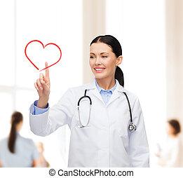 hart, het glimlachen, vrouwlijk, wijzende, arts