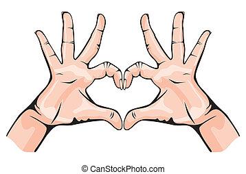 hart, het tonen, handen