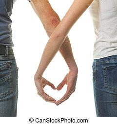 hart, het tonen, liefde, paar, valentines, valentijn, day., hun, fingers., concept.