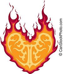 hart, het vlammen, tatoeëren