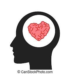 hart, hoofd, gevormd, binnen, hersenen, menselijk
