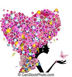 hart, hoofd, haar, vorm, meisje, bloemen