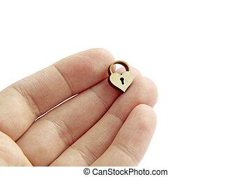 hart, houten, slot, vrijstaand, hand, achtergrond, kleine