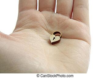 hart, houten, slot, vrijstaand, hand, achtergrond