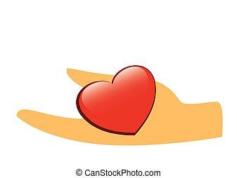 hart, -, illustratie, hand, vector, rood