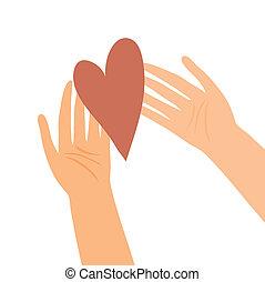 hart, illustratie, handen
