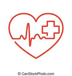 hart, illustration., meldingsbord, cross., vector, hartslag