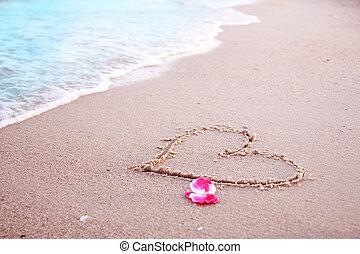 hart, in het zand, op, de, seashore