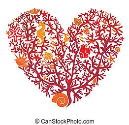 hart, is, gemaakt, van, koraal, vrijstaand