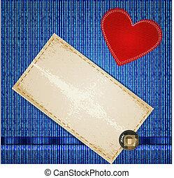 hart, jeans, achtergrond