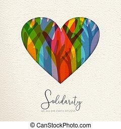 hart, kaart, verenigd, solidariteit, menselijk, dag, handen