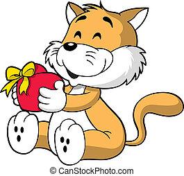 hart, kat, vasthouden, schattig